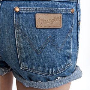Wrangler high waist distressed Jean Shorts.